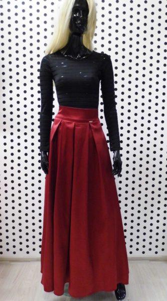 Bordová saténová sukňa