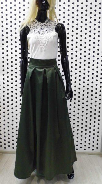 Zelená saténová sukňa
