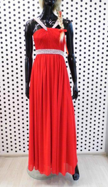 Červené spoločenské šaty s perličkami