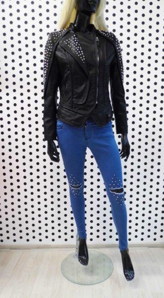 Čierna Koženková bunda s ostňami