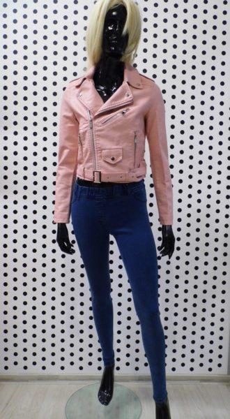 Ružová koženková bunda