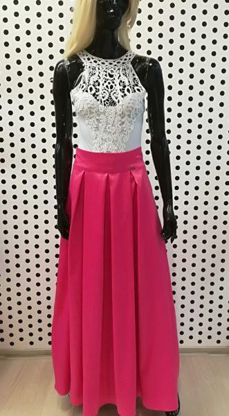 Ružová saténová sukňa