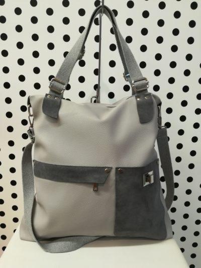 Sivá kabelka s kožou