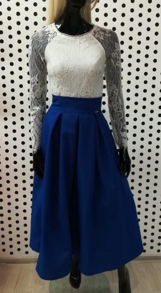 Modrá midi sukňa
