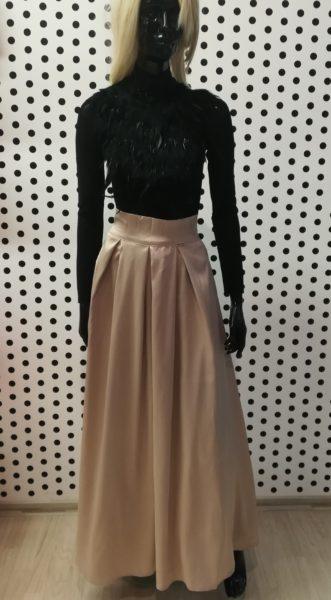 Krémová saténová sukňa