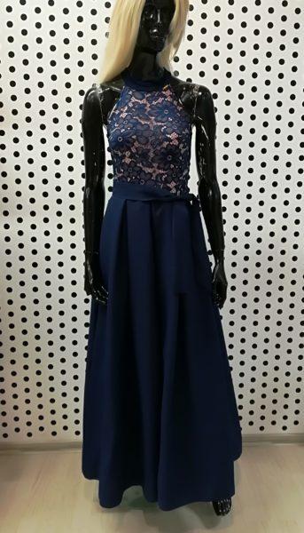 Modré dlhé šaty
