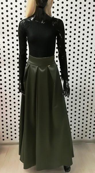 Olivová saténová sukňa